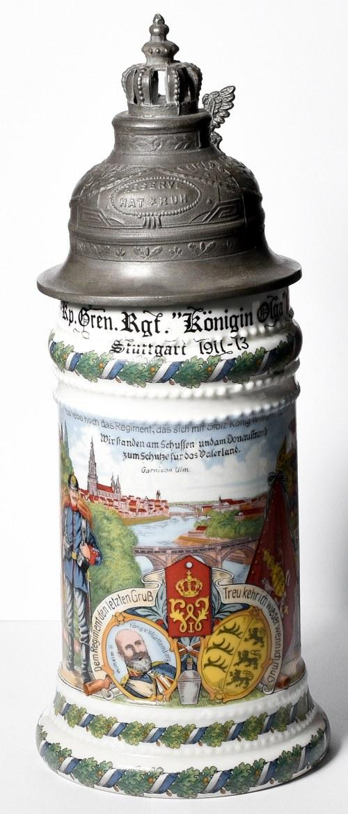 Germany, Commemorative beer mug 119 regiment Stuttgart 1913