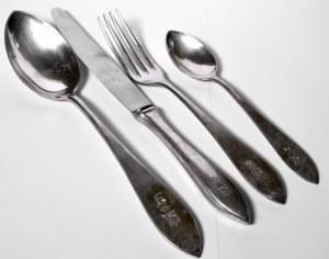 II RP, Komplet obiadowy dla jednej osoby z herbem Jastzębiec srebro