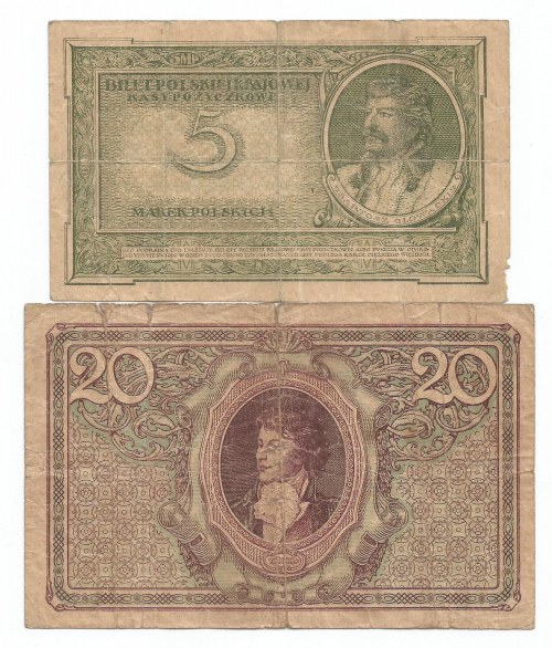 II RP, Zestaw 5 i 20 marek polskich 1919