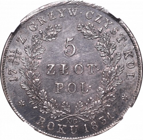 November Uprising, 5 zloty 1831 - NGC MS61