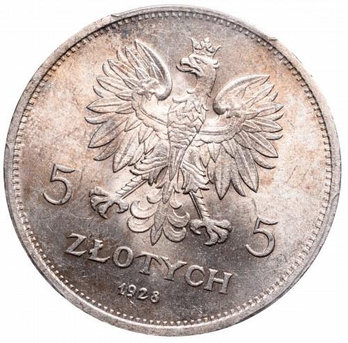 II Rzeczpospolita, 5 złotych 1928 ZZM Nike SKRĘTKA ! - PCGS MS62