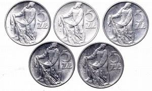 PRL, Zestaw 5 złotych 1974 Rybak