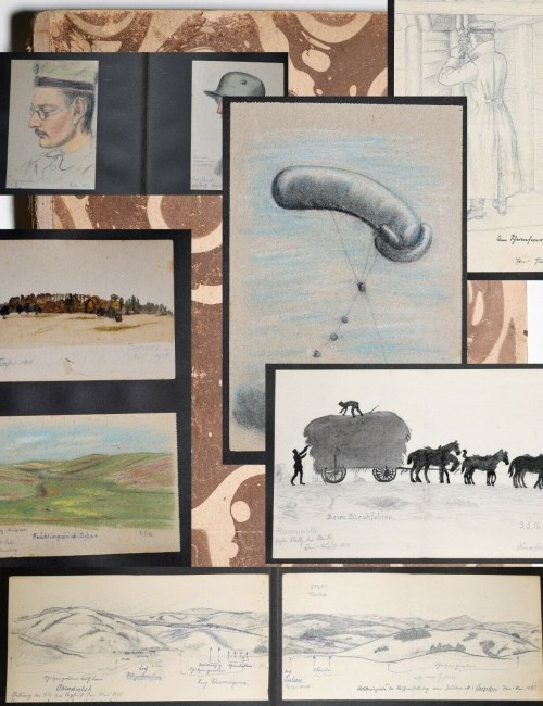 Germany, WWI, Album 26 drawings wartime