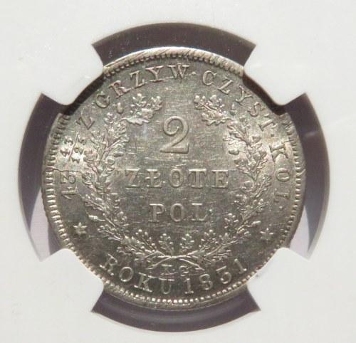Powstanie Listopadowe, 2 złote 1831 K.G., Warszawa, bardzo ładne, HYBRYDA STEMPLI, NGC AU58