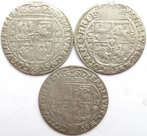 Zygmunt III Waza, lot ortów 1621, 1622, 1623, Bydgoszcz, 3 sztuki