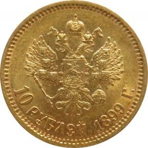 Rosja, Mikołaj II, 10 rubli 1899 EB, Petersburg, piękny egzemplarz