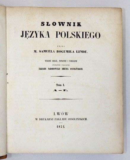 LINDE Samuel Bogumił - Słownik języka polskiego. Wyd. II