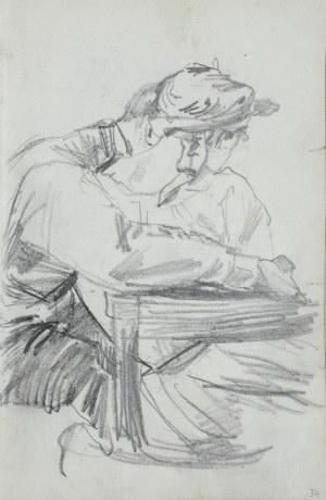 Stanisław Kaczor Batowski (1866-1946), Tuląca się para - ukazani tyłem, siedzący mężczyzna i obejmowana przez niego kobieta