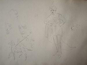 Karol Kossak (1896-1975), Szkice postaci, głów, rycerza na koniu oraz tygrysa