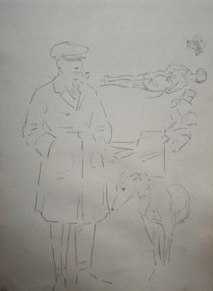 Karol Kossak (1896-1975), Szkic mężczyzny z psem oraz szkice postaci