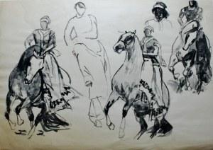 Ludwik Antoni Maciąg (1920-2007), Amazonka na koniu - szkice w różnych ujęciach