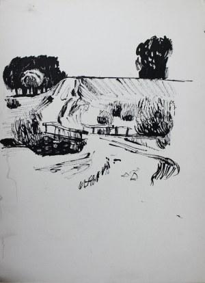 Ludwik Antoni Maciąg (1920-2007), Szkic wiejskiego pejzażu z krętą drogą
