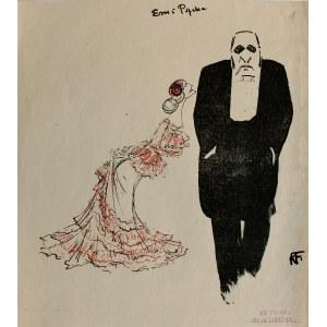 Karol Frycz (1877-1963), Jadwiga Mrozowska i Józef Sosnowski jako Psyche i Blaks w sztuce Jerzego Szaniawskiego Eros i Psyche, 1904