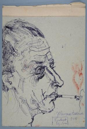 Janina Muszanka - Łakomska (1920-1982), Portret Czesława Szygalskiego palącego papierosa, 1981