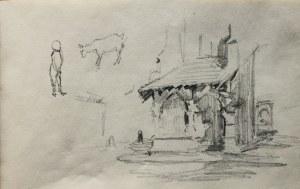 Józef Pieniążek (1888-1953), Luźne szkice: fragment kościoła św. Barbary w Krakowie, szkic dziecka i kozy