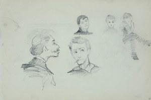 Włodzimierz Tetmajer (1861 - 1923), Szkice głów mężczyzny z wąsami, młodej kobiety, siedzącego młodzieńca, ok. 1900