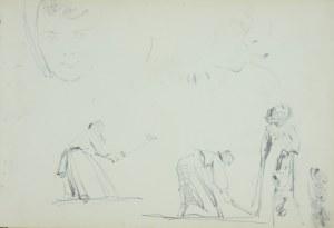 Włodzimierz Tetmajer (1861 - 1923), Kobiety pracujące w polu, kobieta na spacerze oraz szkice domowego twarzy dziewczęcej, ok. 1900 ołówek, karton; 15,6 x 23,2 cm;