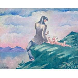 Eugeniusz Zak (1884 Mogilno – 1926 Paryż) Kobieta z dzieckiem na brzegu jeziora (ok. 1913 r.?)