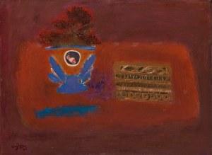 Henryk Hayden (1883 Warszawa - 1970 Paryż) Martwa natura z niebieskim wazonem i pudełkiem krawieckim, 1964 r.