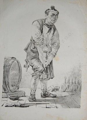 Aleksander Orłowski (1777-1832) Piwniczy odkorkowujący butelkę