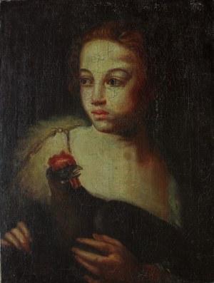 A.N. (szkoła niemiecka, XVIII w.) Dziewczyna z kogutem
