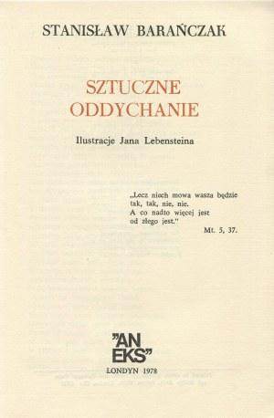 BARAŃCZAK Stanisław - Sztuczne oddychanie. Ilustrował Jan Lebenstein