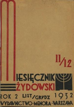 Miesięcznik Żydowski. Numer 11/12 z 1932 r.