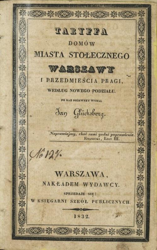 Taryffa domów miasta stołecznego Warszawy i przedmieścia Pragi według nowego podziału