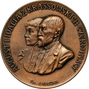 XX wiek, medal z 1907 roku, wybity z okazji 25-tej rocznicy ślubu Augusta i Idalii Czerwińskich