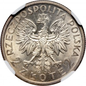 II RP, 2 złote 1933, Warszawa, Głowa kobiety