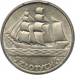 II RP, 5 złotych 1936, Warszawa, Żaglowiec