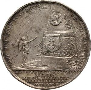 XVIII wiek, Elbląg, Fryderyk Wilhelm II, medal wybity w 1787 roku z okazji urodzin króla pruskiego i 550-lecia miasta Elbląga