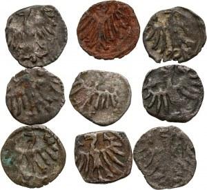 Kazimierz Jagiellończyk i Władysław Warneńczyk, zestaw 9 denarów koronnych