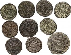August II Mocny, August III, zestaw 10 monet, halerze, 1698-1752