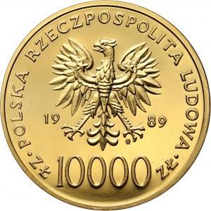 PRL, 10000 złotych, 1989, Jan Paweł II, stempel zwykły