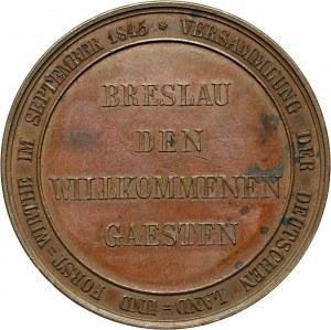 XIX wiek, Śląsk, Wrocław, medal z 1845, zjazd rolników i leśników we Wrocławiu