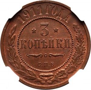 Russia, Nicholas II, 3 Kopecks 1911 СПБ, St. Petersburg
