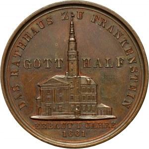 XIX wiek, Śląsk, medal z 1858 roku, wybity z okazji odbudowy ratusza w Ząbkowicach Śląskich