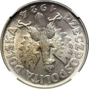 II RP, 2 złote 1924, Żniwiarka, Filadelfia, ODWROTKA