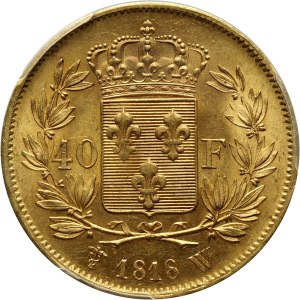 France, Louis XVIII, 40 Francs 1818 W, Lille