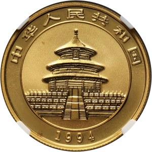 Chiny, 50 juanów 1994, Panda, 1/2 uncji złota, duża data