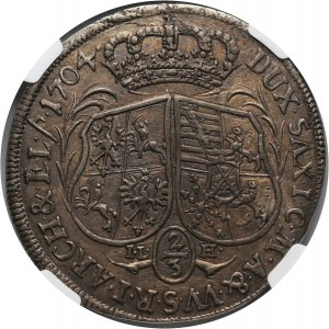 August II Mocny, 2/3 talara (gulden) 1704 ILH, Drezno