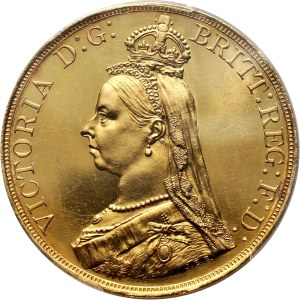 Great Britain, Victoria, 5 Pounds 1887, London