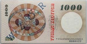 PRL, 1000 złotych, 29.10.1965, Seria G 0000000