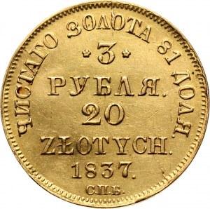 Zabór rosyjski, Mikołaj I, 3 ruble = 20 złotych 1837 СПБ ПД, Petersburg