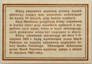 II RP, 10 groszy 28.04.1924, Bilet zdawkowy