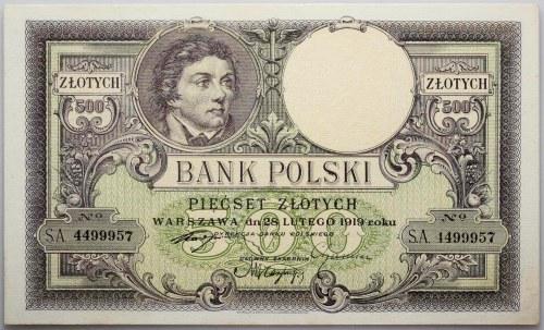 II RP, 500 złotych 28.02.1919, seria S.A.