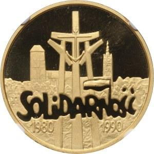 III RP, 200000 złotych 1990, Solidarność, średnica 32 mm