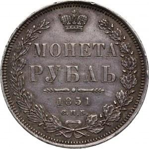 Russia, Nicholas I, Rouble 1851 СПБ ПА, St. Petersburg