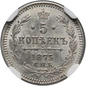 Russia, Alexander II, 5 Kopecks 1875 СПБ HI, St. Petersburg